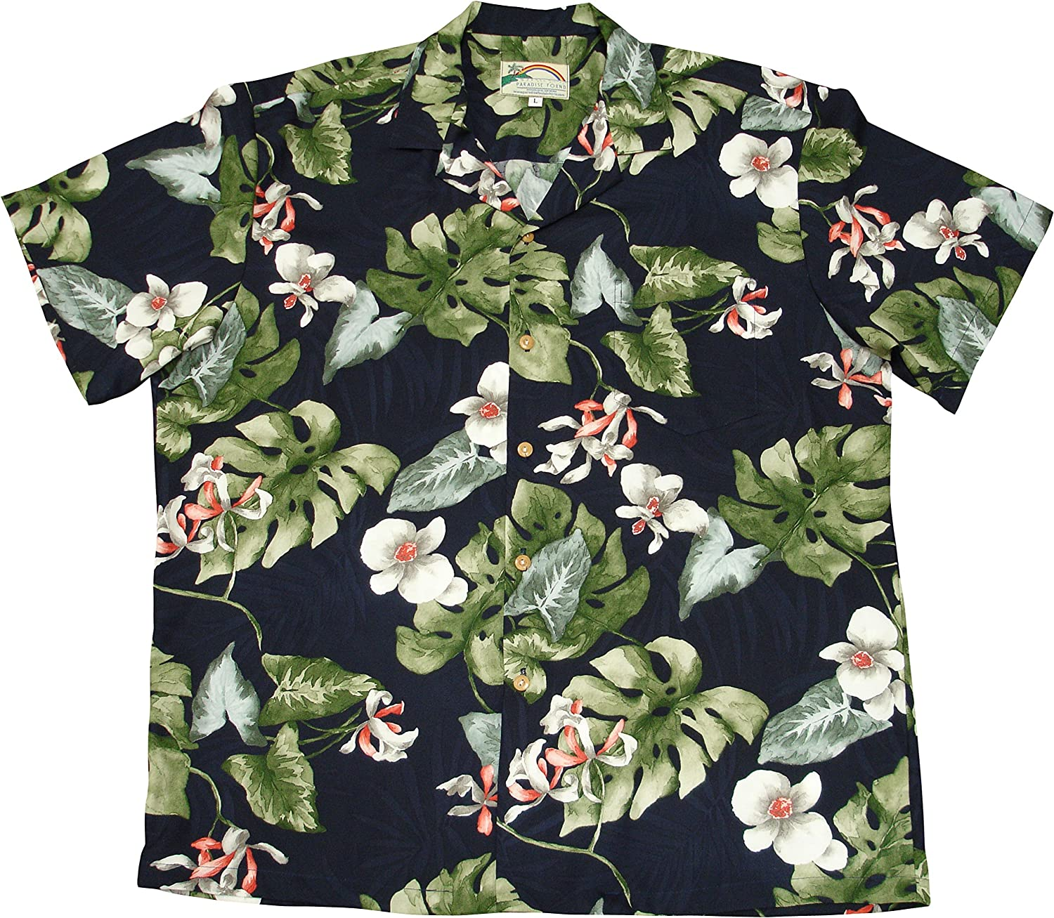 Paradise Found Mens Monstera Orchid Shirt Navy Blue 5X