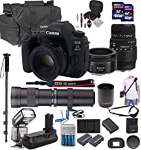 Canon EOS 5D Mark IV with 50mm f/1.8 STM and Sigma 70-300mm f/4-5.6 DG Lenses, 420-1600mm f/8-16 Super Zoom Lens, 128GB, Quick Release Shoulder Strap, TTL Flash, Professional Bundle