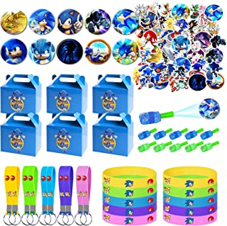 Sonic the Hedgehog Party Supplies for Kids, 100 Pcs Party Favors - Gift Box, Bracelet, Key Chain, Button Pins, Stickers, F...