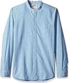 Marchio Amazon - Goodthreads, camicia da uomo, a maniche lunghe, con colletto a fascia, in chambray, vestibilità regolare