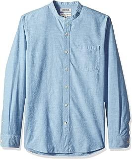 Goodthreads Men's Standard-Fit Long-Sleeve Band-Collar Chambray Shirt