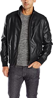 Tommy Hilfiger Men's Smooth Lamb Faux Leather Unfilled Bomber Jacket