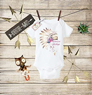 d6ddb5d7 Boho Baby Clothes Wild One Bodysuit Wild One Baby Boho Bodysuit Indian  Chief Headdress Outfit Toddler