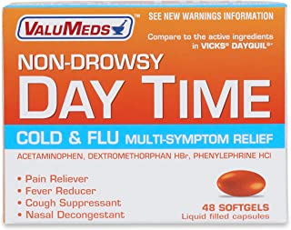 ValuMeds Non-Drowsy Cold & Flu (48 Softgels) Multi-Symptom Relief for Congestion, Headache, Sore Throat, Aches and Pains, Fever   Acetaminophen