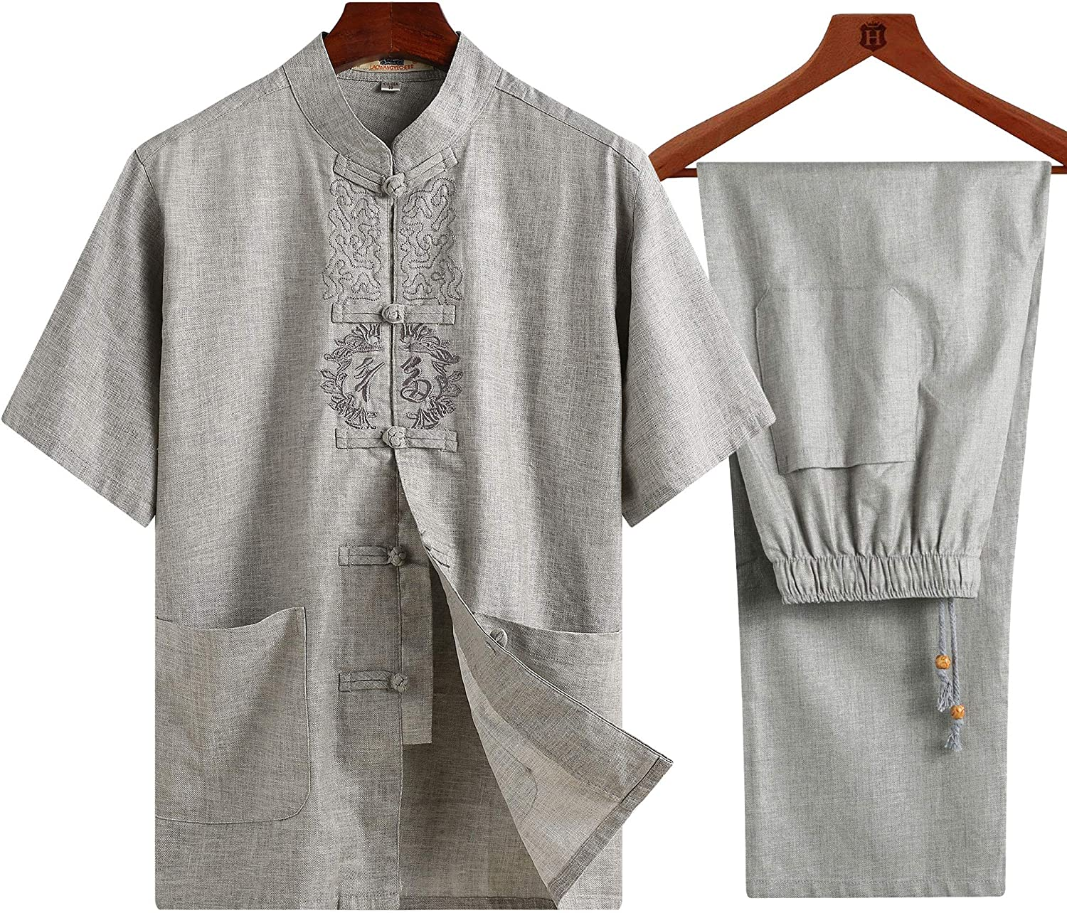 ZooBoo Chinese Clothing Tang Suit - Traditional China Tang Suit Summer Linen Embroidered Short Sleeve Shirt and Pants for Men