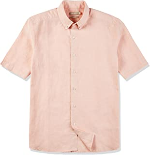 Men's Slim Fit Short Sleeve Button-Down Collar Casual Woven Linen Cotton Tropical Hawaiian Shirt