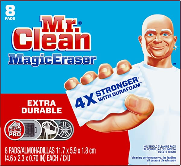 Mr Clean Magic Eraser Extra Durable Cleaning Pads With Durafoam 8 Count Pack Of 1 Box Packaging May Vary