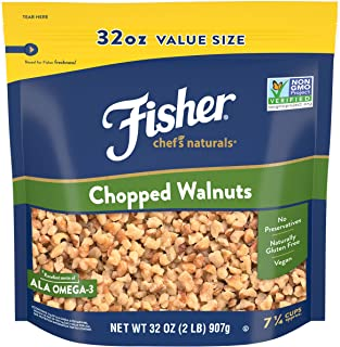 Fisher Chef's Naturals Chopped Walnuts, 32 Ounces, Unsalted, Naturally Gluten Free, No Preservatives, Non-GMO, Keto, Pale...