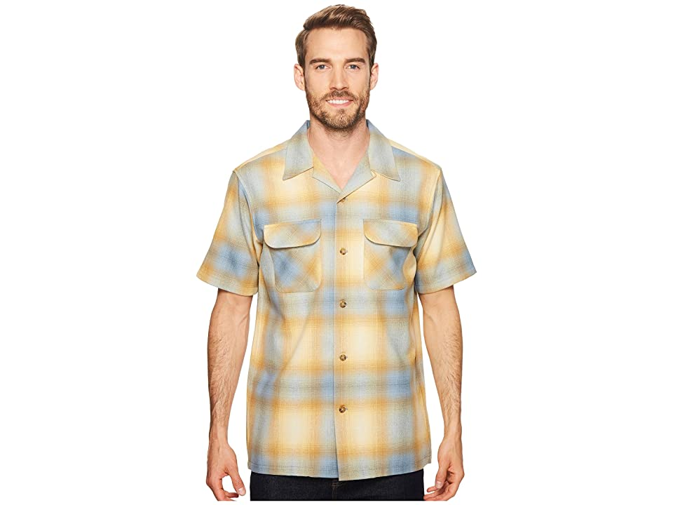 1950s Mens Shirts | Retro Bowling Shirts, Vintage Hawaiian Shirts Pendleton Short Sleeve Board Shirt BlueGold Ombre Mens Clothing $129.00 AT vintagedancer.com
