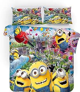 ZI TENG 3D Yellow Minions Duvet Cover Stars 3PCS Cute Minions Cartoon Bedding Set 100% Polyester Teenagers Kids Adult Bed Set 1 Duvet Cover 2 Pillowcase Twin Full Queen King