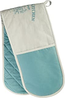 Premier Housewares Country Kitchen Double Oven Glove - White/Teal