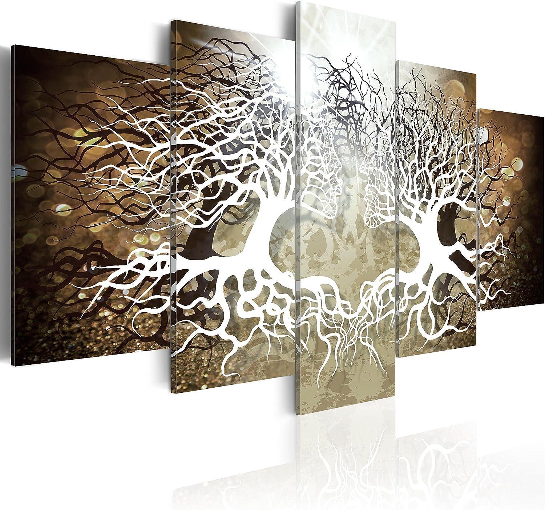 B/&D XXL murando Impression sur Toile intissee 100x50 cm 5 Parties Tableau Tableaux Decoration Murale Photo Image Artistique Photographie Graphique Love Abstrait Amour Baiser Arbre b-A-0284-b-n