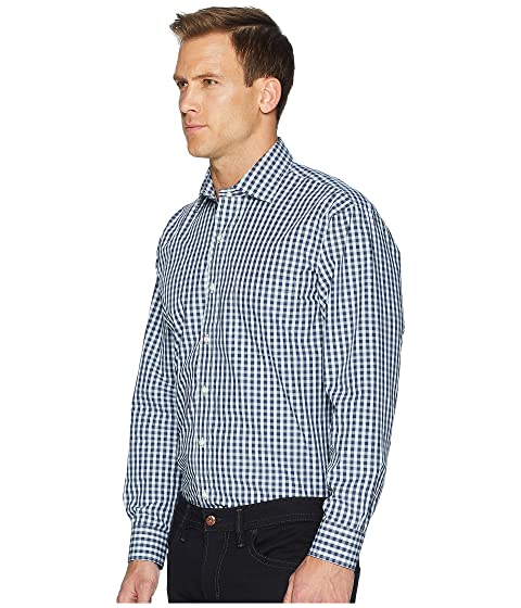 Magna Ready Long Sleeve Magnetically-Infused Dress Shirt- Spread Collar Dark Navy/Green/White Sale Looking For Best Seller Cheap New Clearance Countdown Package Get To Buy Sale Online jI38xxb