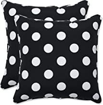 Pillow Perfect Outdoor | Indoor Polka Dot Black 16.5 Inch Throw Pillow, 16.5 X 16.5 X 5