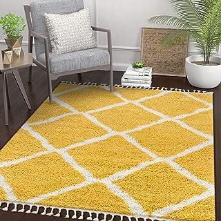 Well Woven Celina Yellow Moroccan Shag Diamond Trellis Pattern Area Rug 5x7 (5'3