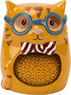 Scrubby & Sponge Holder, Smarty Cat Collection, Hand-painted Earthenware by Boston Warehouse