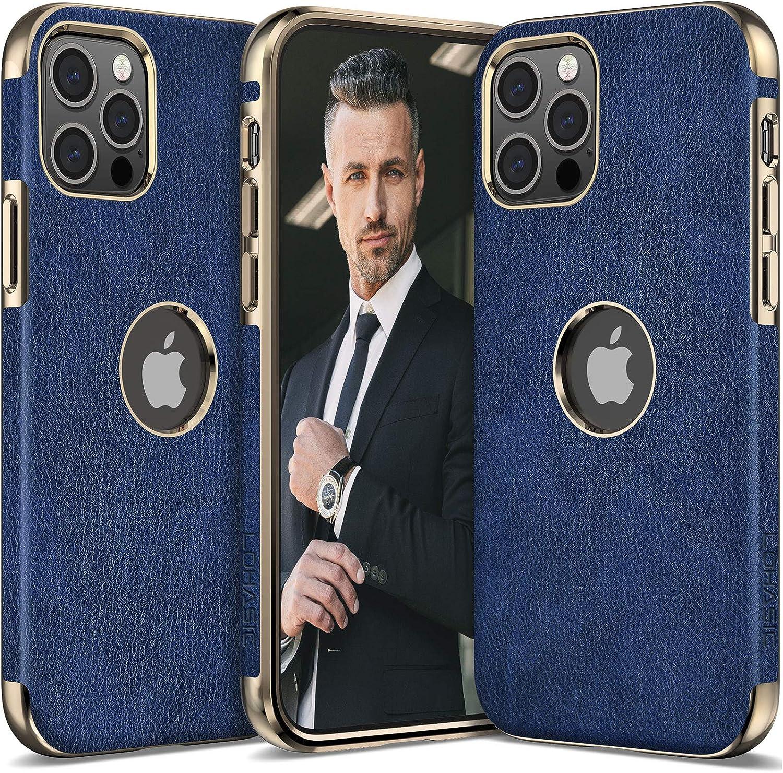 LOHASIC Case for iPhone 12 Pro Max Men, Women Phone Cover PU Leather Elegant Luxury Vintage Designer Slim Shockproof Protective Soft Grip Non-Slip Anti-Scratch TPU Bumper 12 ProMax 6.7 Inch Navy Blue