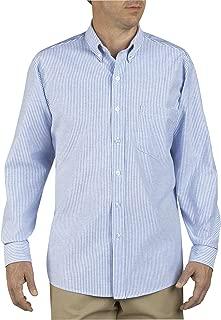 Men's Button-Down Long Sleeve Oxford Shirt, White, Blue Stripe, 18.5 Long