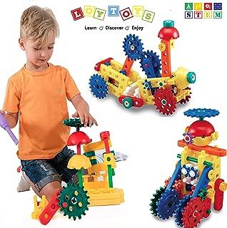 LoyToys Educational Engineering Building Blocks & Gears Set, 80 Piece for age 4-7 Boys & Girls. Best Gift, STEM Toy- Promote Hand & Eye Coordination, Fine Motor Skills & Creativity. Storage Bag Incl.