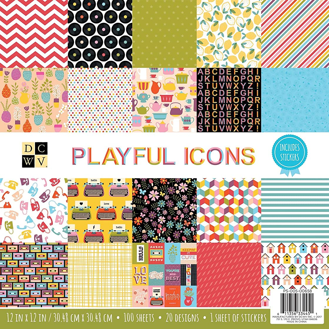 DCWV 12 x 12 Inch 100 Sheets Playful Icons Paper Pad Stacks