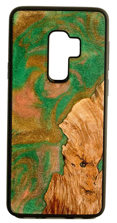 ModernWood Samsung Galaxy S9 Plus Protective Case Cover Unique Handmade Real Wooden Burl & Artistic Swirl of Resin Texture Creative Design Back Cover with Shock Absorbing Rubber Bumper Green