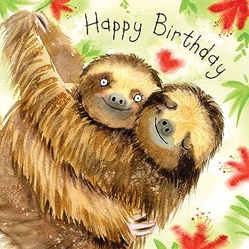 A5 wild sloths boy girl cute funny happy SLOTH Personalised Birthday Card