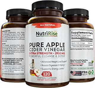 Apple Cider Vinegar Capsules for Weight Loss & Cleanse - 100% Pure Extra Strength 1950mg - 120 Natural Diet Pills for Women & Men for Bloating & Constipation Relief, Digestion & Energy Boost