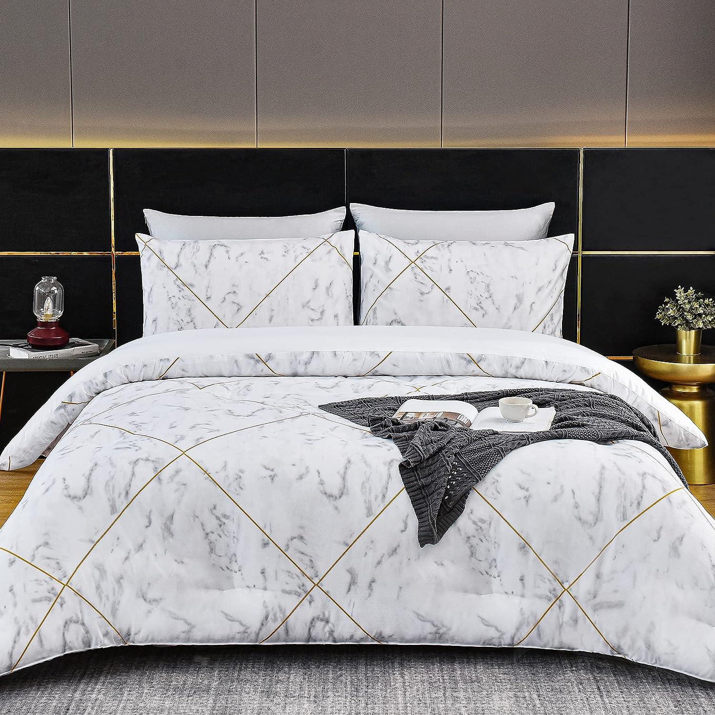 Atarashi Twin Houston Mall Marble Comforter Set Chicago Mall Black and Bed All Season