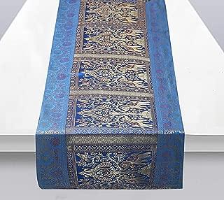 Ekavya Indian Rectangle Hand Art Elephant Good Luck Silk Design Banarsi Silk Table Runner Table Runner 60x16 Inches, Table Cloth (Aqua Blue & Gold)