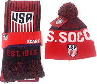 USA Soccer Scarf Official Licensed United States National Team Beanie Bundle USMNT USWNT for Kids, Players, Fans, Coaches and Trainers - Red White and Blue In Coaches and Trainers - Red White and Blue
