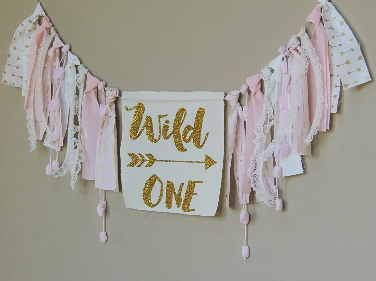 Pink Coral Lace, Gold & White Fabric Banner