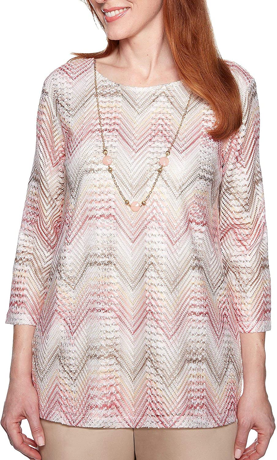 Alfred Dunner Women's Society Page Chevron Top with Necklace