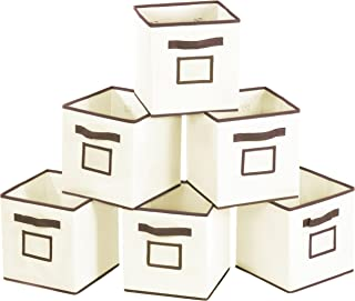 MaidMAX Foldable Storage Cubes with Label Holders and Dual Handles, Beige, Set of 6