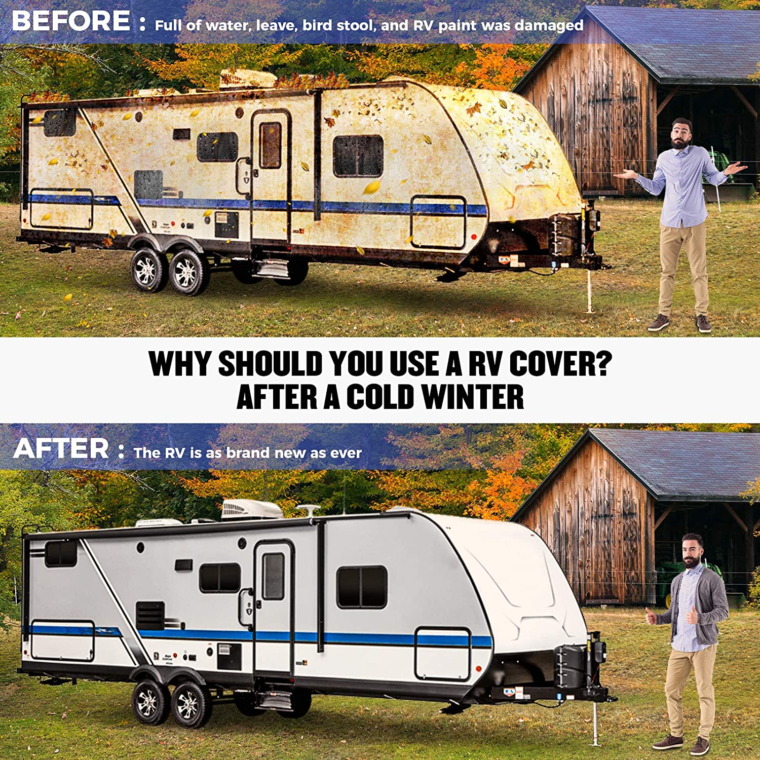 Size: 359 X 102 X 103 Windproof 4 Layers Snow Motorhome RV Cover BougeRV Travel Trailer RV Cover Waterproof Camper Cover fit for 27-29 Travel Trailer RV
