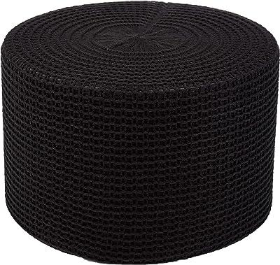 Amazon Basics Chunky-Knit Foam Floor Pouf Ottoman, Black