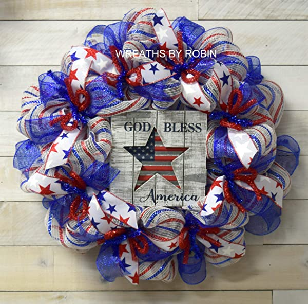 RWB Welcome Wreath 4th Of July Wreath Patriotic Decor 4000