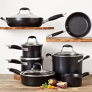 Anolon 84601 Advanced Hard Anodized Nonstick Cookware Pots and Pans Set, 11 Piece, Onyx