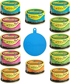 Earthborn Holistic Grain Free Cat Food in 4 Flavors (Catalina Catch, Harbor Harvest, Chicken Catcciatori, Monterey Medley), 12 Cans Total, 3 Oz each + Cat/Dog Food Silicone Can Cover - 13 Items Total