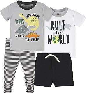Gerber Baby Boys' Toddler 4-Piece Shirt, Onesie, Short and Pant Set