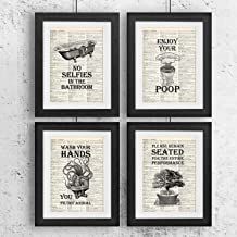 IHopes+ Bathroom Quotes and Sayings Vintage Book Art Prints | Set of Four Photos..