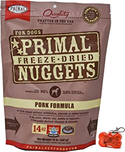 Primal Pet Food - Freeze Dried Pork Nuggets Dog Food 14oz Bag with WoWing Pets Pendant