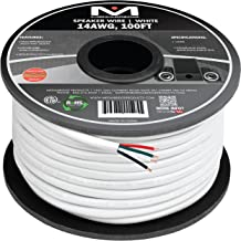 Mediabridge 14AWG 4-Conductor Speaker Wire (100 Feet, White) - 99.9% Oxygen Free Copper - ETL Listed & CL2 Rated for in-Wall Use (Part# SW-14X4-100-WH)