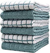 "Premium Kitchen Towels (16""x 28"", 6 Pack) – Large Cotton Kitchen Hand Towels – Check Design – 380 GSM Highly Absorbent Tea Towels Set with Hanging Loop – Aqua"