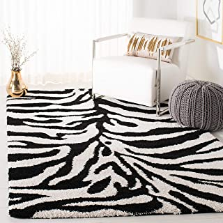 Safavieh Zebra Shag Collection SG452-1290 Ivory and Black Area Rug (5'3