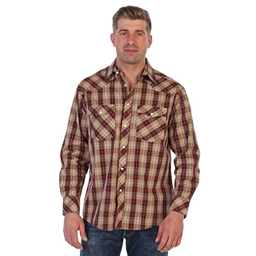 a0b4b9480 Gioberti Men's Western Plaid Long Sleeve Shirt with Pearl Snap