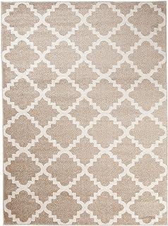 Petit Tapis De Salon   Beige Blanc   Motif Géométrique Treillis Marocain    Design Moderne U0026