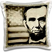 3dRose pc_52683_1 Abraham Lincoln-President Abraham Lincoln with American Flag in Sepia Tone Colors-Pillow Case, 16 by 16