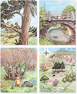 Classic Winnie the Pooh Art Prints (Baby Nursery Wall Decor) 8x10 Unframed, Set of 4