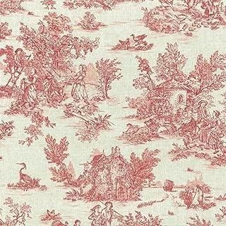 Textiles francais Mini Toile de Jouy Fabric (La Vie Rustique) - Antique Red on a soft, linen-look base cloth | 100% Cotton Designer Print | 61 inches wide | Per yard length increment