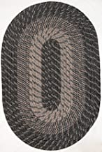 "product image for Plymouth 7'4"" x 9'4"" (88"" x 112"") Oval Braided Rug in Kona Charcoal Made in New England"
